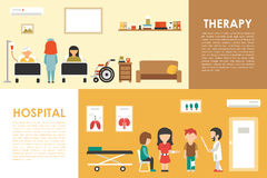 Hospital Therapy flat medical hospital interior concept web vector illustration. Doctor, Patients, Queue, Medicine Royalty Free Stock Images