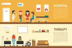 Hospital Therapy flat medical hospital interior concept web vector illustration. Doctor, Patients, Queue, Medicine Stock Photography