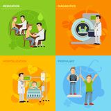 Hospital Treatment Concept. Hospital treatment design concept set with prophylaxy diagnostics medication hospitalization flat icons isolated vector illustration Royalty Free Stock Photos