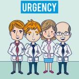 Hospital urgency medical team. Funny cartoons vector illustration graphic design Stock Photography