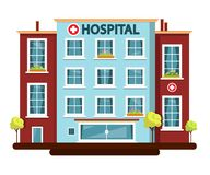 Hospital Vector Flat Design Building Isolated Royalty Free Stock Photography
