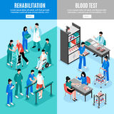 Hospital Vertical Isomeric Banners Set Stock Images