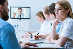 Hospital video conference stock photos