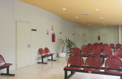 Hospital. Waiting area with seats. Stock Photo