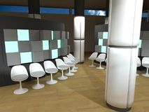 Hospital waiting room, white chairs Royalty Free Stock Photography