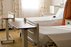 Hospital ward. Clean empty beds in a hospital ward