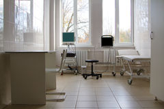 Hospital ward. With bed and medical equipment Royalty Free Stock Images
