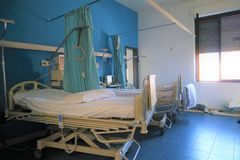 Hospital ward with beds. Hospital room with beds and comfortable medical equipped in a modern hospital royalty free stock photos