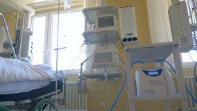 Hospital ward with equipment, close up. stock footage
