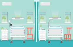Hospital ward room interior with beds. Royalty Free Stock Image