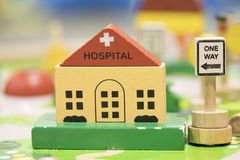 Hospital Wooden Toy Set and One way Signs Play set Educational t. Oys for preschool indoor playground royalty free stock photo