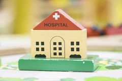 Hospital Wooden Toy Set Play set Educational toys for preschool Stock Photos