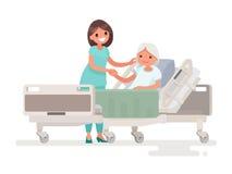 Hospitalisation du patient Une infirmière prenant soin d'un EL malade illustration libre de droits