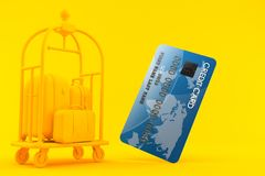 Hospitality background with credit card. In orange color Stock Images