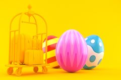Hospitality background with easter eggs. In orange color Royalty Free Stock Image