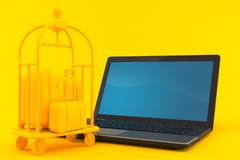 Hospitality background with laptop. In orange color. 3d illustration Stock Photography