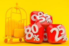 Hospitality background with percent numbers. In orange color Stock Photography