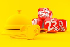 Hospitality background with percent numbers. In orange color Royalty Free Stock Photo