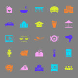 Hospitality business color icons on gray background Stock Photos
