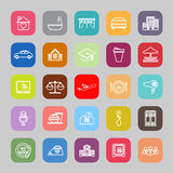 Hospitality business line flat icons Stock Photography