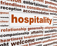 Hospitality creative words conceptual poster Stock Photo