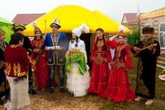 Hospitality on cultural platform of Kazakh people royalty free stock image