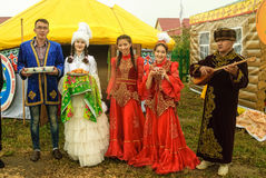 Hospitality on cultural platform of Kazakh people. Tyumen, Russia - June 24, 2016: The 5th open championship of Russia on a plowed land. Hospitality on the Stock Photography