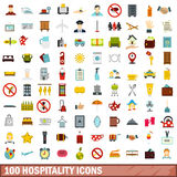 100 hospitality icons set, flat style Royalty Free Stock Photography