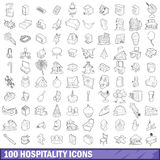 100 hospitality icons set, outline style Royalty Free Stock Photography