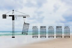 Crane building hotels one after the other. Hospitality industry conceptual illustration: crane building hotels one after the other Stock Photos