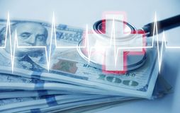 Hospitality with much money and stethoscope and cardiology hospital. Illustration stock photography