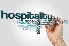 Hospitality word cloud Stock Images