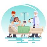 Hospitalización del paciente Cuide la visita al paciente de la mujer embarazada de la sala en una cama médica con el marido Jóven Fotografía de archivo libre de regalías