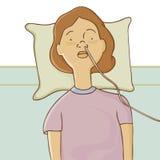 Hospitalizado com câmara de ar de alimentação Foto de Stock