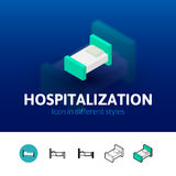 Hospitalization icon in different style. Hospitalization color icon, vector symbol in flat, outline and isometric style  on blur background Stock Photography