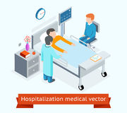 Hospitalization medical vector 3D isometric. Hospitalization medical 3D isometric concept patient hospital bed. Medicine and health, healthcare and care medical Royalty Free Stock Images