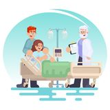 Hospitalization of the patient. Doctor visit to the ward Pregnant woman patient in a medical bed with husband. Happy couple young. Family Vector colorful Royalty Free Stock Photography