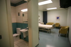 Hospitals bedroom and washroom Royalty Free Stock Photo
