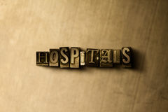 HOSPITALS - close-up of grungy vintage typeset word on metal backdrop Stock Photography