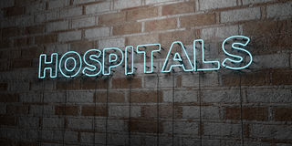HOSPITALS - Glowing Neon Sign on stonework wall - 3D rendered royalty free stock illustration Stock Image