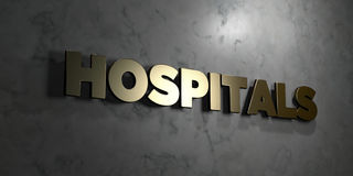 Hospitals - Gold sign mounted on glossy marble wall - 3D rendered royalty free stock illustration. This image can be used for an online website banner ad or a Stock Illustration