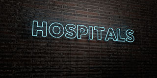 HOSPITALS -Realistic Neon Sign on Brick Wall background - 3D rendered royalty free stock image Royalty Free Stock Photography