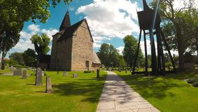 Hossmo medieval church. Video of Hossmo medieval church in Sweden stock video