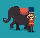 Host elephant circus show festival funfair. Illustration eps 10 Royalty Free Stock Photos