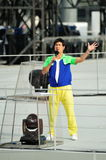 Host Gurmit Singh performing during National Day Parade (NDP) Rehearsal 2013 Stock Image