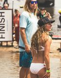 Host and hostess for raft event royalty free stock image