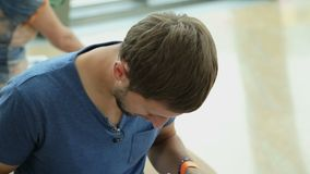 Host of tv program reading script before shooting, student preparing for exam. Stock footage stock video