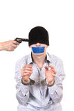 Hostage in Handcuffs Stock Photo
