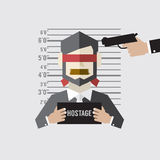 Hostage On Mugshot With Gun Point To His Head Royalty Free Stock Image