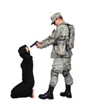 Hostage. Soldier put a gun to his head hostage Royalty Free Stock Photography
